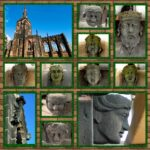 A collage of the stone faces built into the architecture of the Priory