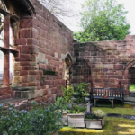 view of a corner of the Priory walls