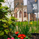 "A view of the sign reading ""Birkenhead Priory"" and the white walls and tower of St Mary's, seen behind a closer view of grass, pansies and the edge of a bush"