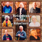 "Text reading ""Birkenhead Priory Volunteers"" with people's faces around the edge"