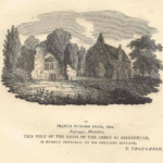 "A black-and-white drawing of the Priory buildings. Underneath it is the text ""to Francis Richard Price esq., Brynypys, Flintshire, This view of the ruins of the abbey of Birkenhead, is humbly inscribed, by his obedient servant, T. Troughton"""