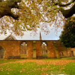 A wide view of a wall of Birkenhead Priory. There are two window frames, neither of which is filled with glass. There's a dooray ont he left. It's autumn on the grass in front of the wall is covered in golden leaves