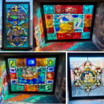 A composite image of four stained glass windows. One with the dates of the riory, one featuring a worker, one with a ship and the last with a ship surrounded by six circles